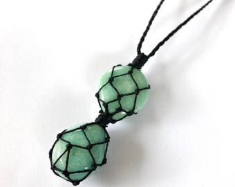 Amazonite Hemp-Wrapped Adjustable Necklace