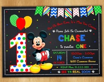 ON SALE 30%Mickey Mouse Invitation - Mickey Mouse Birthday Invitation