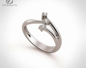 Modern 18K White Gold Three Stone Diamond Engagement Ring Diamond Ring Wedding Ring Bridal Ring