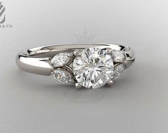 Forever One Moissanite Engagement Ring in 14K White Gold - Wedding Ring - Anniversary Ring