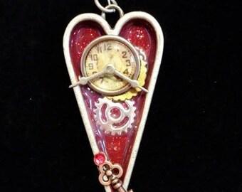 Steam punk Heart clock pendant
