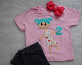Pink Polka Dot Little Girl Shirt / Birthday Shirt