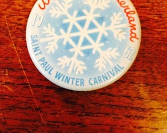 13 St. Paul Winter Carnival buttons, Winter Carnival buttons, a set of 13 Winter Carnival buttons, 1957-80 St. Paul Winter carnaval
