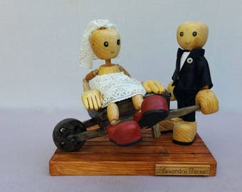 wedding funny wooden sculpture