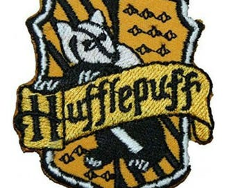 """FREE SHIPPING-Domestic-InspireMeByAudrey Harry Potter Hufflepuff House Crest Embroidered Sew/Iron-on Patch 4"""" X 3"""""""