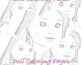 Luciana Vega Coloring Pages - Grayscale Art - Adult Coloring - American Girl Doll Coloring - 3 jpeg Digital Downloads to Print and Color