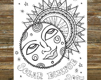 Solar Eclipse Coloring Page Printable 2017 Childrens Sun And Moon Party Art Activity