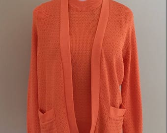 1970s Vintage Tangerine Twin Set/Sleeveless Shell with Matching Cardigan/Geistex/Textured Knit