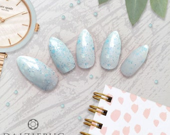 Frozen Frenzy Hand Painted Custom Fit Glue on Nails | Stick on Nails | Press on Nails