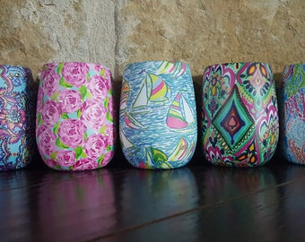 Monogrammed Lilly Pulitzer Inspired Stemless Wine Tumbler/Wine Cup
