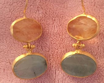 Gold Drop Earring, citrine, topaz