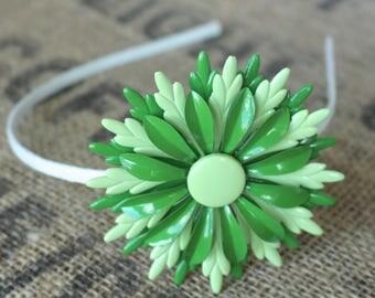 Green Enameled Flower Vintage Headband