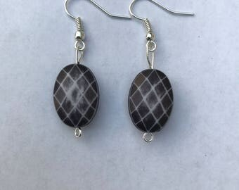 Black Printed Earrings