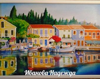 "Painting, batik""Beloved Greece,"" painting on fabric,Картина, Батик""Любимая Греция"""