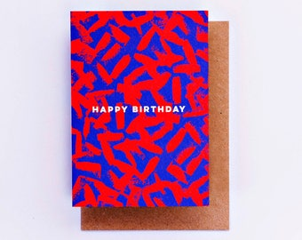 Happy Birthday Red Blue Paint Smudge Card, Birthday Card, Fashion Stationery, Fashion Card, Fashion Gift, Bday Card, Cool Card Cards for him