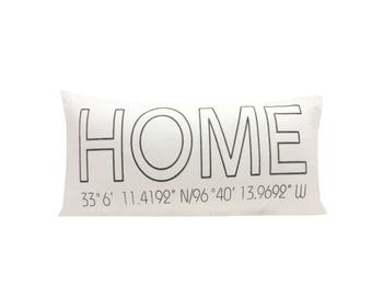 Home Pillow Cover With GPS Coordinates, Housewarming Pillow Cover, Personalized Gift