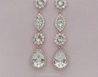 Crystal Wedding Earrings, Long Bridal Earrings, Swarovski Crystal Drop Earrings, Bridal Jewelry, Wedding Jewelry,Rose Gold or Silver