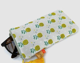 Glasses case sunglasses pouch case fabric pineapple, accessory bag, gift for woman