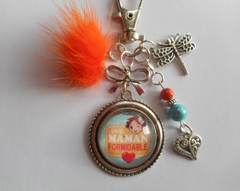 """Bag charm, door keys/MOM / """"A great Mom"""" / thank you gift, mother of the day/birthday/Christmas"""