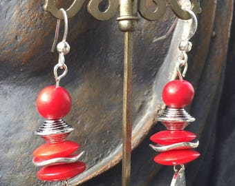 silver plated red vegetable ivory earrings