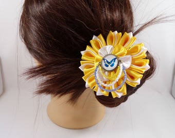 Hair pins with glass Butterfly cabochon yellow and white kanzashi flower and seed beads