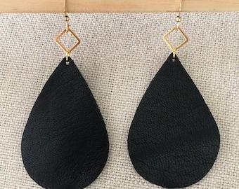Black LEATHER teardrop earrings lightweight earrings leather earrings leather drop earrings black leather earrings