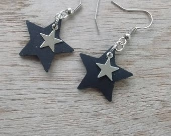 Earrings star in inner tube recycled and star - dangling earrings - star earrings - fancy charm.