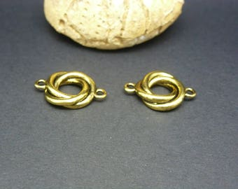 2 round connectors ring fancy 19 * 14mm antique gold (PHCD04)