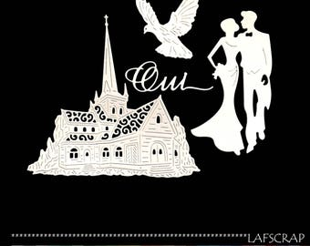 lot cutouts scrapbooking scrap wedding wedding Cathedral Church Dove married chipboard paper embellishment