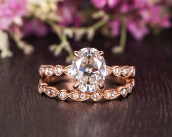 Moissanite Ring Set Rose Gold Art Deco Engagement Ring Diamond Retro Wedding Band Solitaire Oval Cut Woman Antique Bridal Anniversary 2pcs