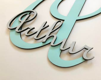 Personalized name initial - Arthur - Mint green and light grey - collection letter wood - child's name - boy nursery decor