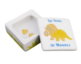 Child's tooth box porcelain hand painted dinosaur triceratops, personalized gift