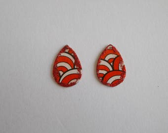 1 set of 2 cabochons in brass for creation