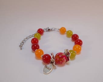 Bracelet multicolored agate beads and glass bead