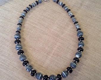 Necklace black and white Zebra Jasper and onyx.