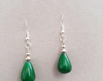 Earrings Silver 925 and jade
