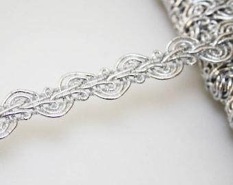 Braid silver 14 mm braid trimmings, 1 m, Silver Ribbon