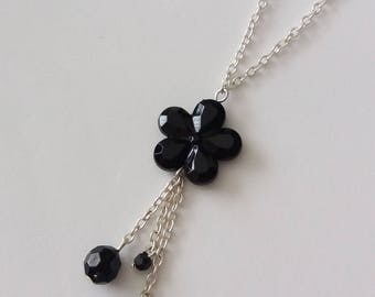 Long silver & Black beads and flower