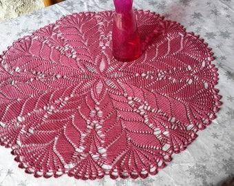 "Handmade lace doily lace crochet, 67 cm Rose ""Raspberry"""