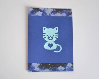 Card blue cat for birth / birthday / congratulations