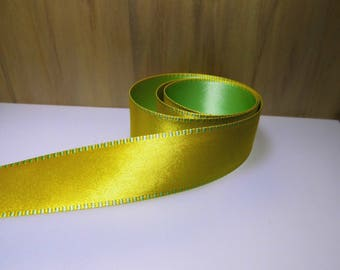 Ribbon 25mm two-tone satin stitched Green Gold (rsja325a)