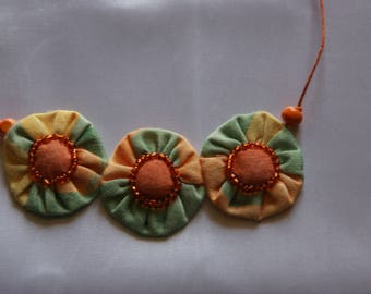 FABRIC flower NECKLACE orange and green