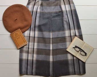 Vintage 1960s Wool Plaid Midi Skirt