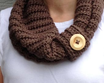 Chestnut Cowl with Button Cuff
