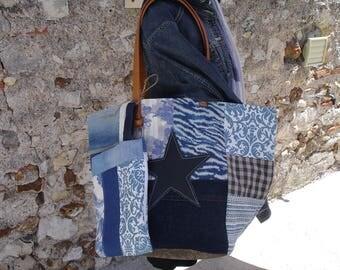 Blue Denim canvas tote bag - leather