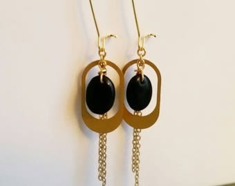 Earrings, gold and Black Pearl