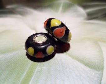 2 European beads Lampwork black and multicolor 14 mm