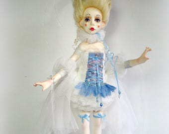 sold.  art doll Blanche, collectible doll, artist rag doll, OOAK art doll,  gift for woman, rag doll, marquise doll
