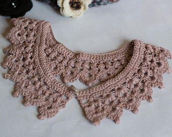 "Collar ""Peter Pan"" Rosewood crochet handmade 100% cotton"