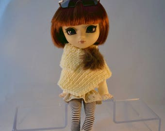 Pullip doll poncho set cream